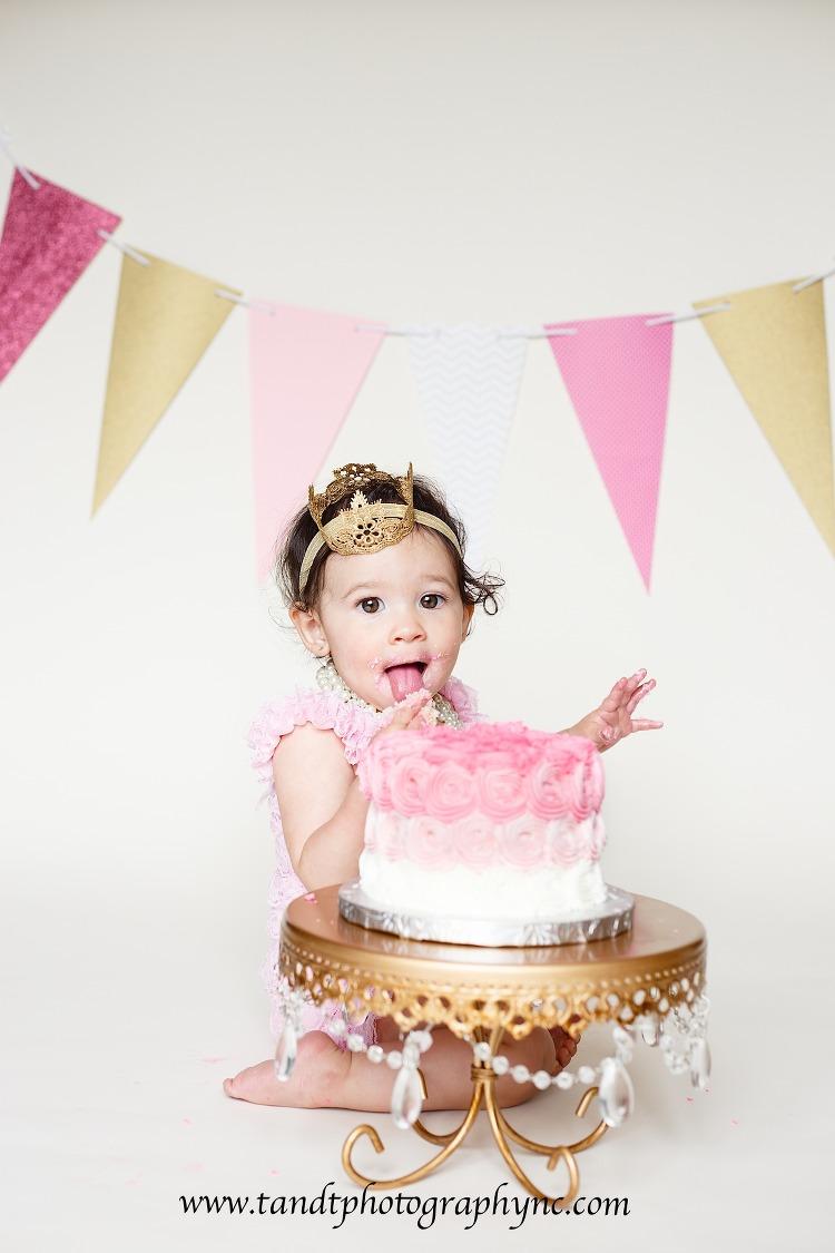 Raleigh Cake Smash Photographer, girl cake smash photography with pink and gold