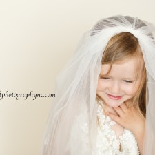 Daughter in wedding dress photography