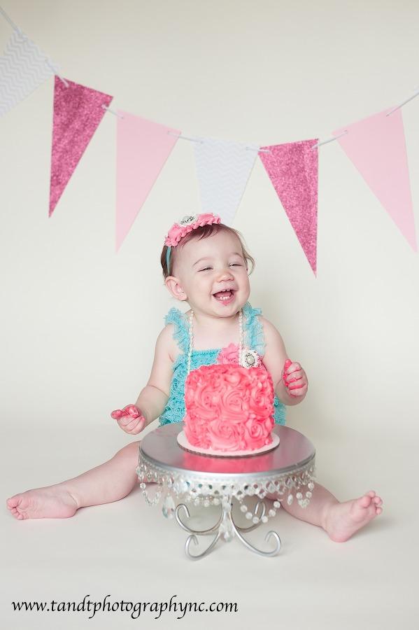 Raleigh Cake Smash Photographer First Birthday Raleigh Family