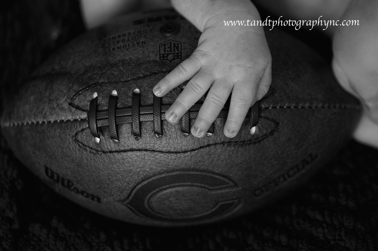 Raleigh Newborn Photographer black and white with Chicago Bears football