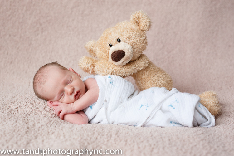 Holly Springs North Carolina Newborn photographer baby boy with stuffed bear