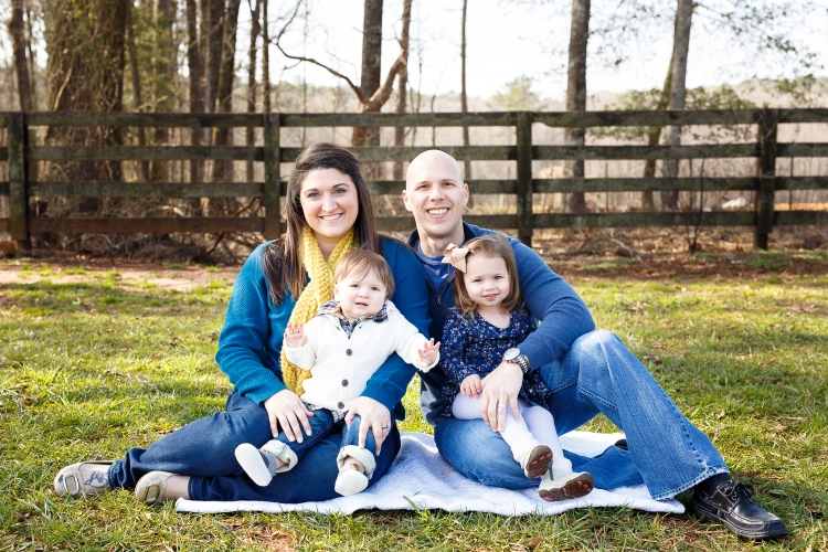 Family photography session for first birthday at Sugg Farm in Holly Springs NC