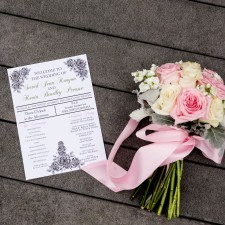 Affordable wedding photographer in Raleigh nc, wedding details. flowers and program