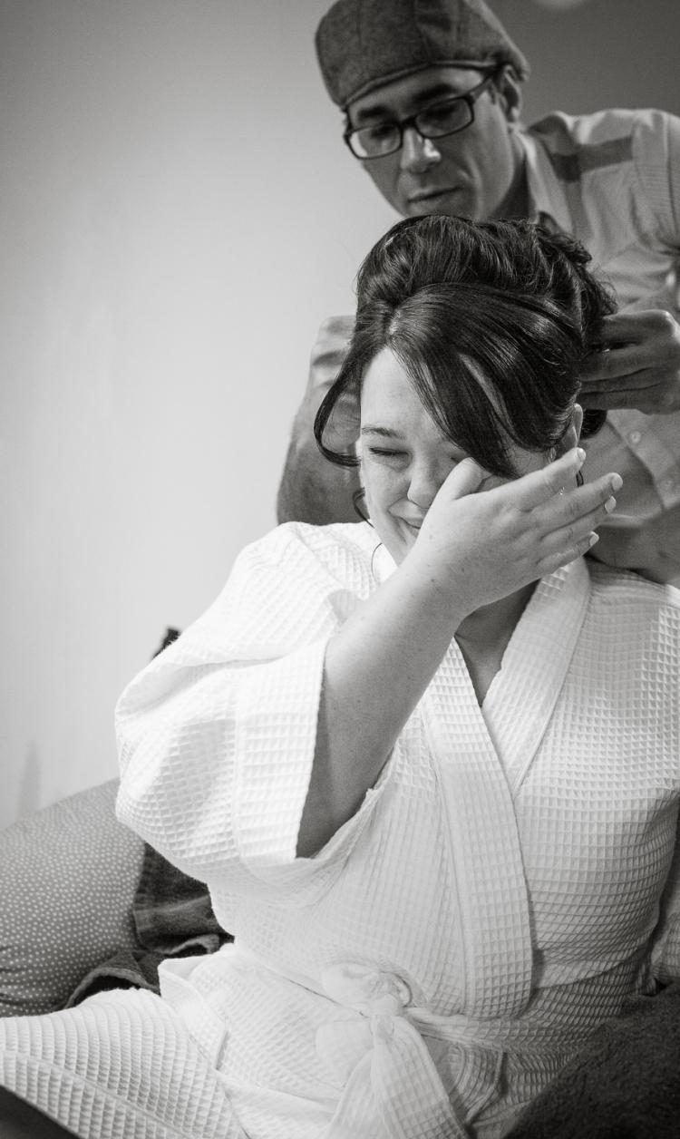 Emotional Bride getting ready