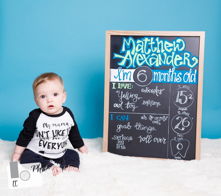 6 month baby photography shoot in Raleigh NC with T&T Photography