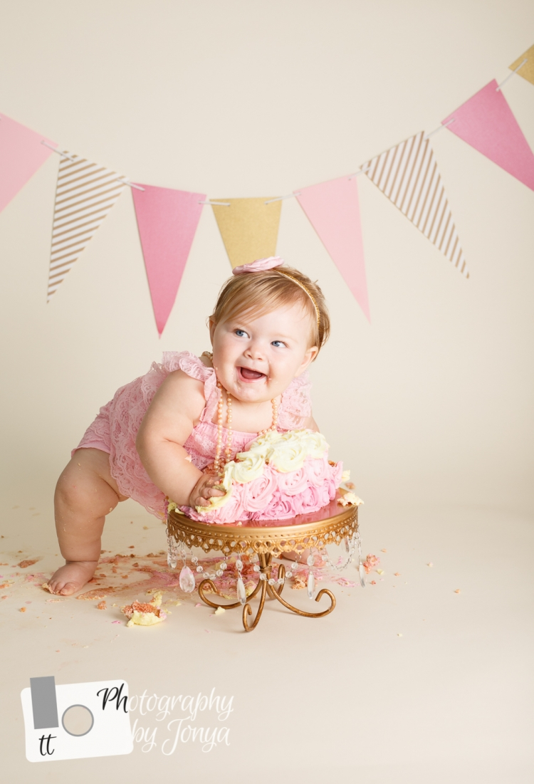 Cake smash photo for girl in Raleigh NC