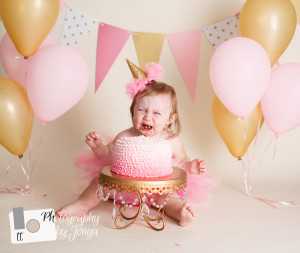 pink and gold cake smash photography in Raleigh NC