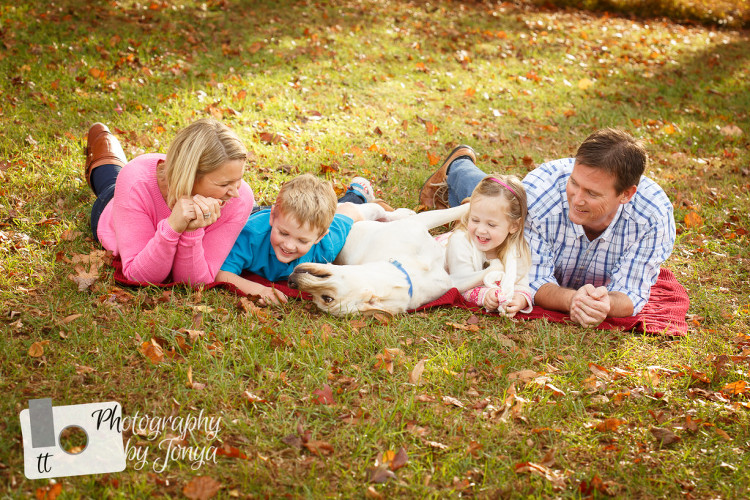 Fall Family photography with dog