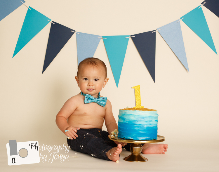 First birthday photography cake smash